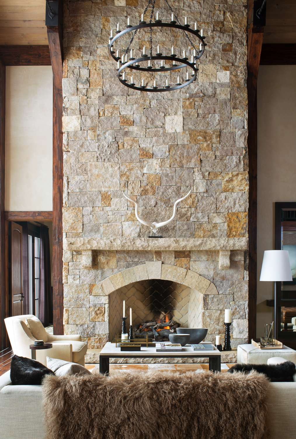 interiors with fireplace