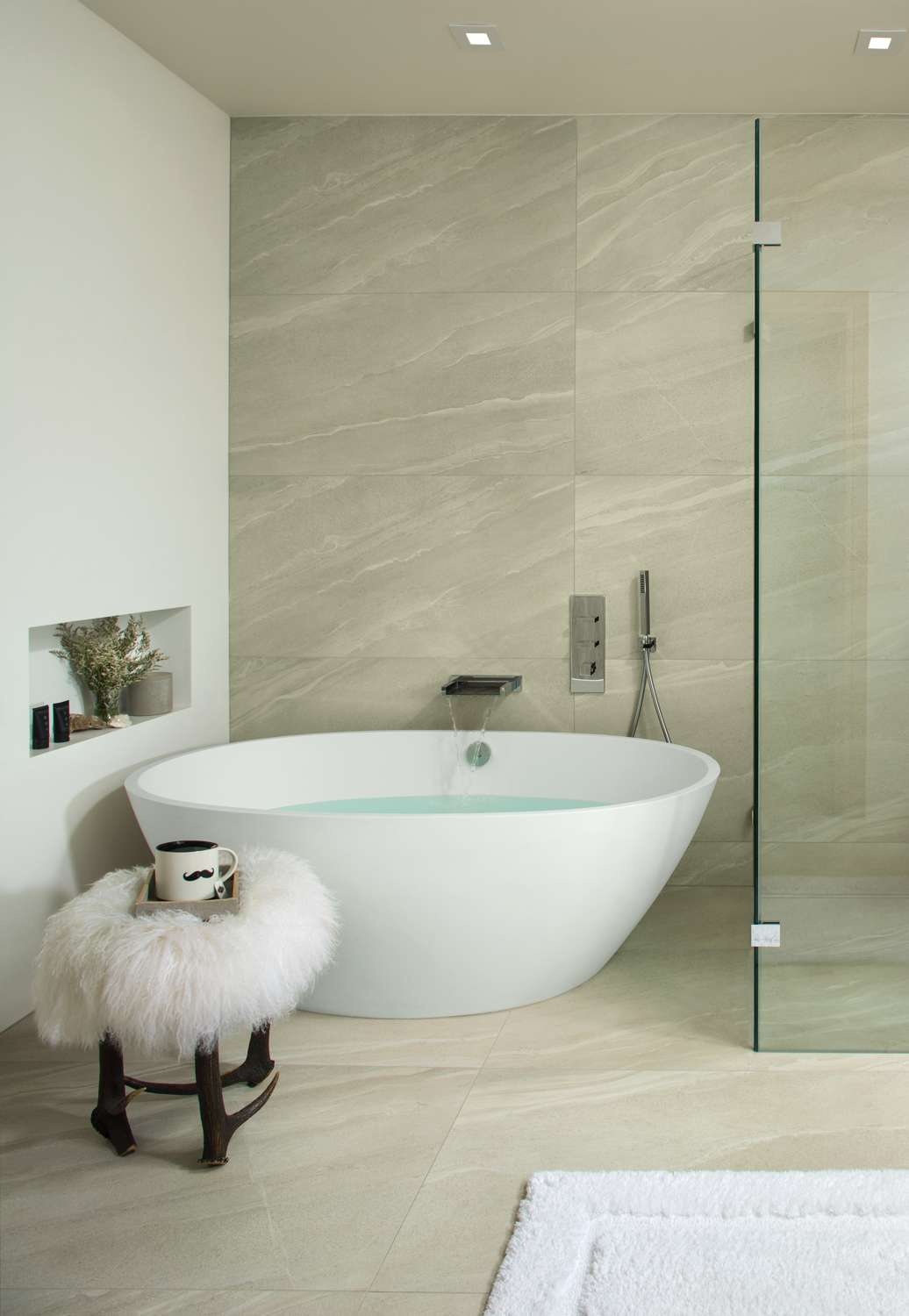 Oval bathtub for a spa bathroom