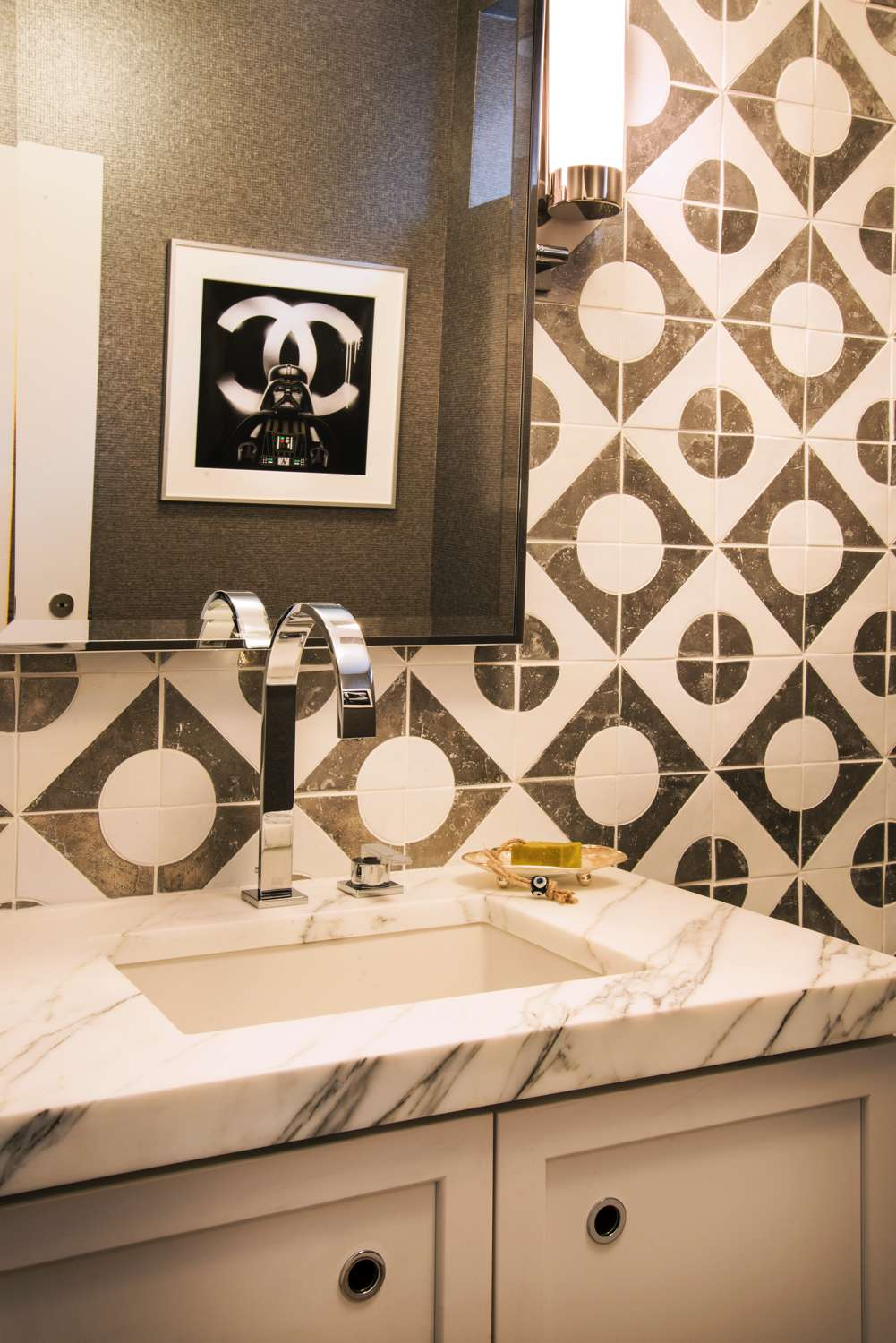geometric wall tiles in a bathroom